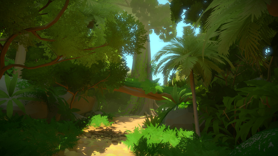 Capture d'écran PC de The Witness PC, montrant une végétation vert profond et dense