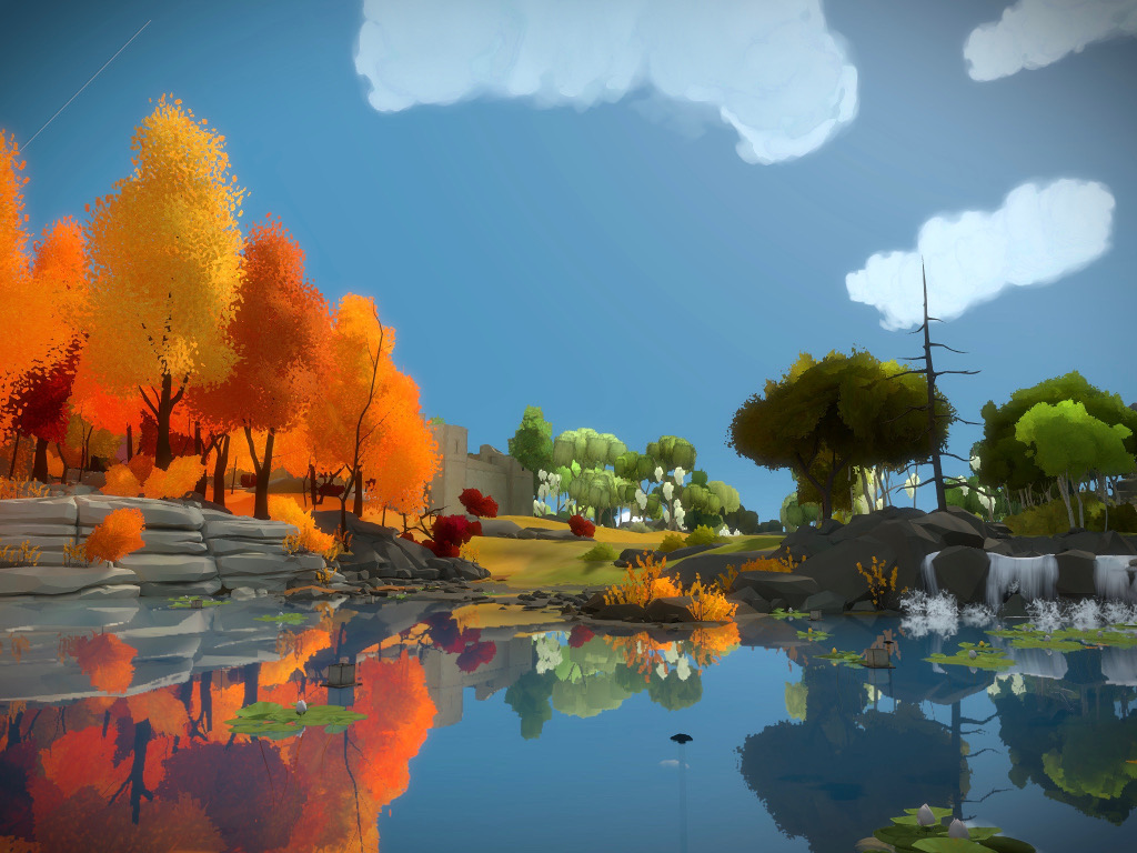 Capture d'écran de The Witness sur iPad Pro, montrant le bord de la rivière. Des arbres oranges à gauche et verts à droite masquent partiellement un château médiéval à l'arrière-plan.