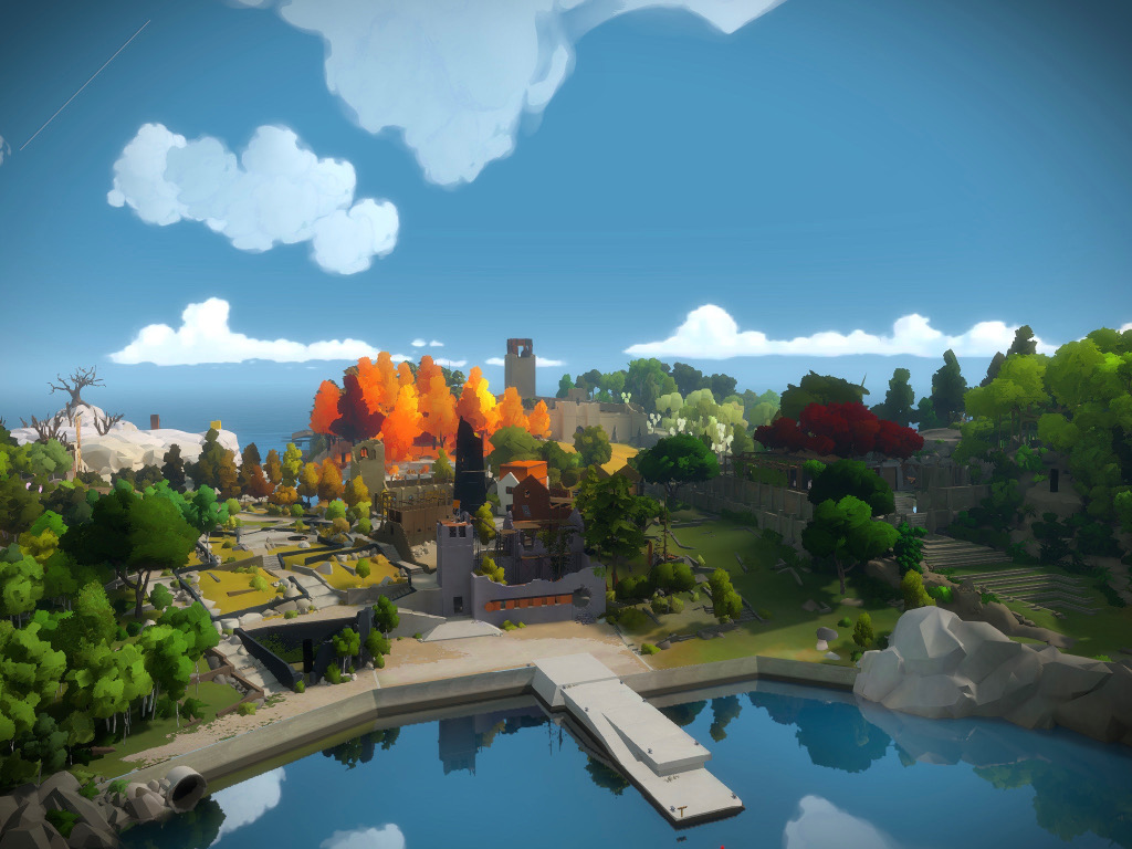 The Witness iPad Pro screenshot, showing most of the island covered in trees in various colors, a deep blue sky and a jetty over a mirror lake